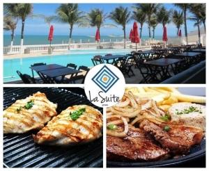 almoco ou jantar file de peixe ou file de alcatra com acesso a piscina no la suite praia com desconto no barato de fortaleza compras coletivas