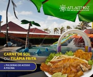 compras coletivas oferta com desconto em almoco na barraca atlantidz peixe tilapia frita carne de sol baiao e pulseiras de acesso piscina no barato de fortaleza