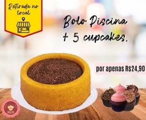 Bolo Piscina com Cupcake Oferta com Desconto Barato de Fortaleza Compras Coletivas