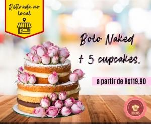 Bolo Naked Decorado com Rosas Naturais PH Bolos Oferta com Desconto em Fortaleza Compras Coletivas