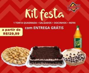Kit Festa Aniversário Torta Quadrada Oferta com Desconto Delicia Doces e Salgados Barato de Fortaleza Compras Coletivas